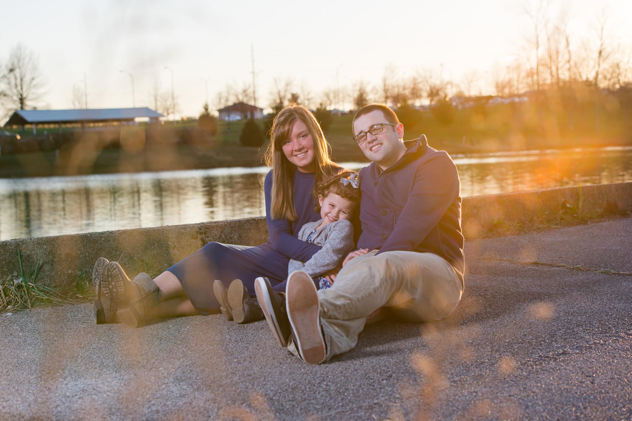 Richmond KY family of three at Lake Reba