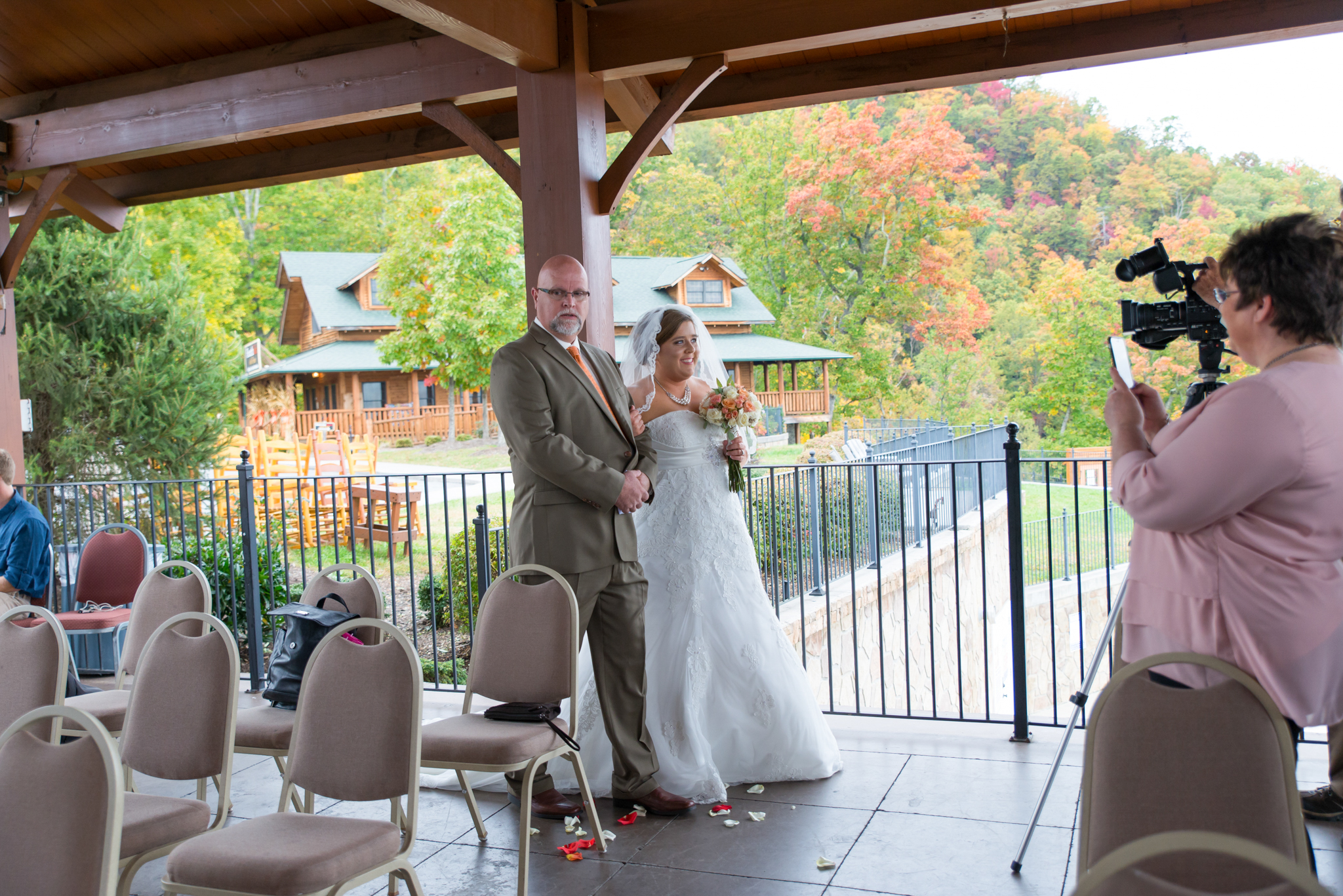 Bride and father coming down the aisle in Gatlinburg, TN