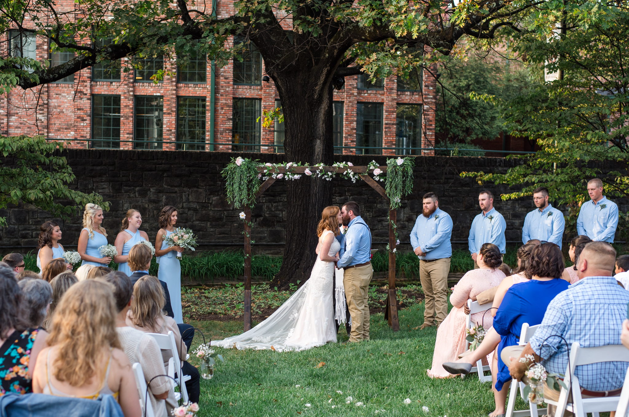 first kiss as man and wife at buffalo trace distillery