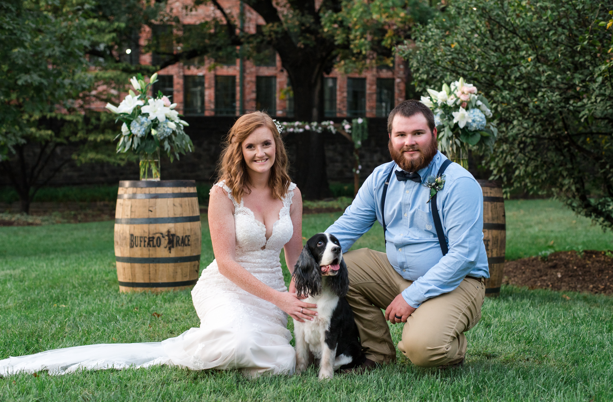 bride, groom , and dog